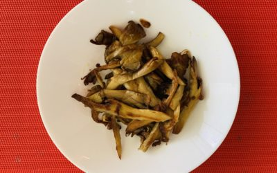 Pan fried, garlic infused oyster mushrooms with a dab of honey mustard.