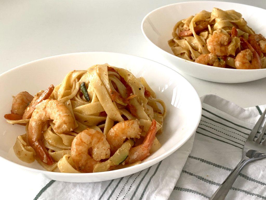 tagliatelle with shrimps and zucchini
